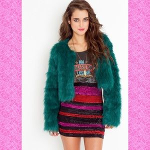 Motel Rocks Faux Fur Cropped Jacket